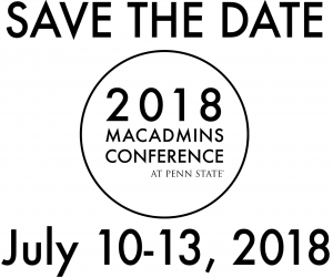 Save the Date for MacAdmins 2018.  Join us on July 10-13, 2018